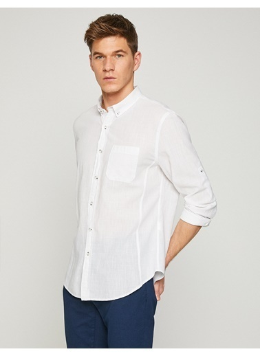 Koton Uzun Kollu Gömlek Beyaz